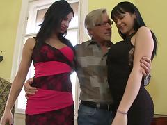 A very lucky old guy has a threesome with two hot younger chicks