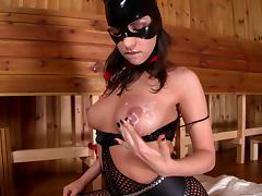 Masked hussy Latex Lucy fingers and toys her holes in hardcore solo