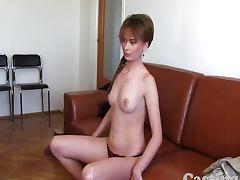 Castingxxx Shy amateur gets spunk on pussy