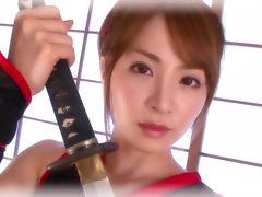 samurai girl gives in to horny guy