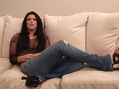 Ambitious brunette with long hair in sexy bikini getting banged hardcore on a sofa