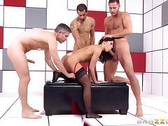 Adriana Chechik gangbang with three dicks pounding her