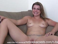 gorgeous girl naked couch interview in her house