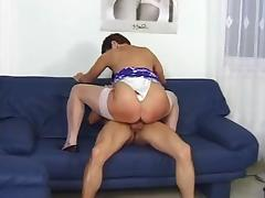 Granny gets a facial after fucking a younger guy