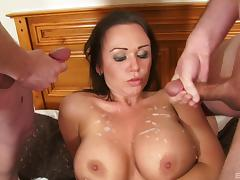 Gangbang with a buxom milf ends with her tits dripping cum