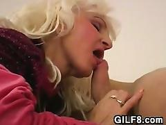 Blonde Granny Wearing Red Stockings