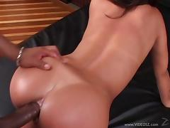 Nasty brunette hot ass lady gets drilled in a naughty interracial bang action