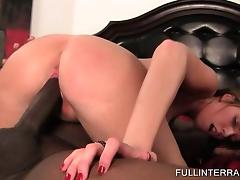 Curly blonde taking giant black cock for a ride