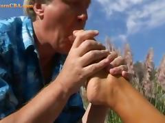 Foot fetish in the garden