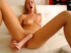 Hot 20 year old blonde toying her tight pussy