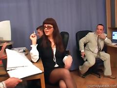 Mature sluts gets her glasses cum showered by three cocks