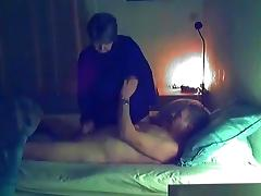 Chubby big boobed granny gives her husband a blowjob and handjob, gets her shaved pussy masturbated and missionary fucke
