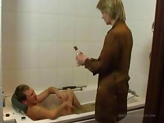 Son fucks nurse in the bathroom