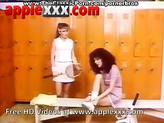 Two vintage girls fuck hard dick in gym changing room