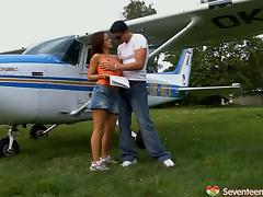 Instead of flight lessons her instructor teachers her about ass fucking