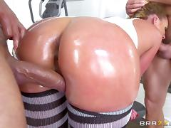 Oiled bimbo slut Phoenix Marie double penetrated hard