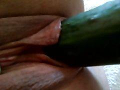 Cucumber in MY sluTs pussy Masturbation Dildo