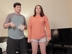 Girlfriend does the mummy duct tape challenge