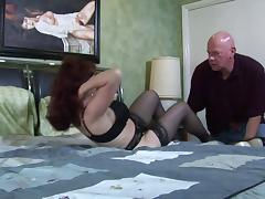 Mature babe sucks his super thick dick and gets fucked