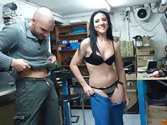Back room blowjob from a hot slut that loves his dick