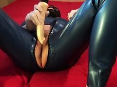 Danielle in catsuit and dildo play