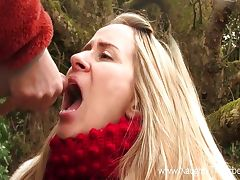 Hot blonde babe drinks whole bladder of urine