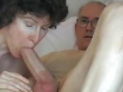Grandpa's big cock, attractive mature swallows it