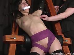 Extreme slave Elise Graves tit tormented and electro punished in hard double domination