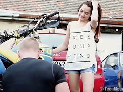 Lusty sweetie Licie C gets her twat hammered by a horny biker