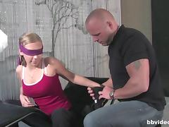 Blindfolded cuties sucking and getting drilled by their bald friends