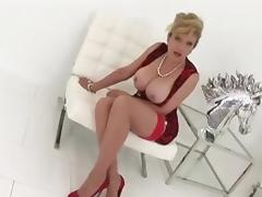 British MILF In Red Dress And Heels