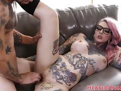 Inked emo slut gets her pussy drilled