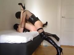 Sissy crossdresser deepthroats girl, fucks her pussy and ass (first time)