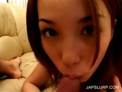 Asian cutie gives blowjob in close up