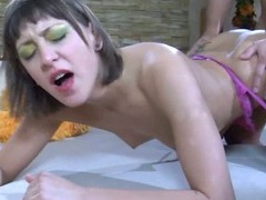 Brunette Gets Fucked From Behind In Her Stockings