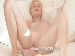 Charming blondie babe in art movie