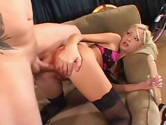 Horny blonde begs for an ass fuck