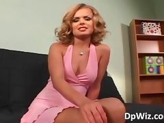 Hot blonde babe takes on three hard
