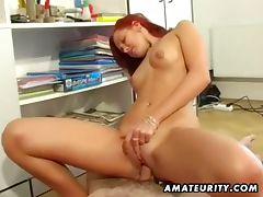 Amateur redhead rides hard cock till orgasm