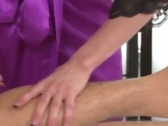 Massage babe greedily sucks lucky clients cock