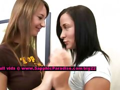 Alla and Kelsie lusty lesbo girls licking