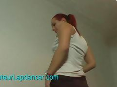 Wild redhead does lapdance and nasty BJ