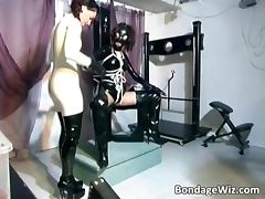 Kinky brunette girls get their latex