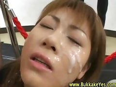 Nasty fetish asian hoe gets bukkake