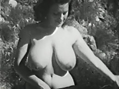 Clara Enjoys Her Big Boobs Outdoors 1950