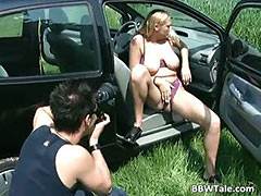 Chubby blonde bitch with big tits sucks