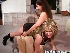 Attractive blonde gets bent over knees part6