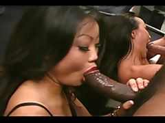 Two hot chicks gets a hardcore interracial fuck