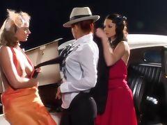 Three lesbians in 30th clothes