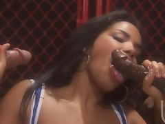Ebony Ring Girl Havana Ginger Knocking Down Two Boxers In Threesome